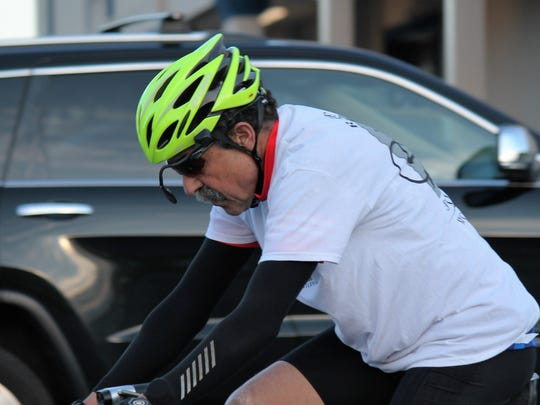 Mike Tyler is one of about 35 cyclists who took part in the 12th Annual Ride of Silence. The 8-mile trip on Route 1 is to show support for cyclists who have been killed on public roads.