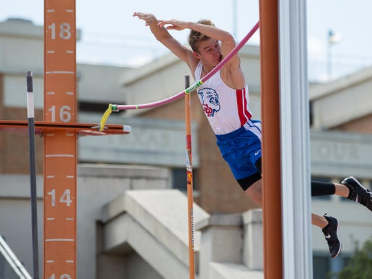 Gregory-Portland's Taylor McCormick competes in the boys 5A Pole Vault to take second place during the UIL State Track and Field meet at Mike A Myers Stadium in Austin Texas on Friday, May 11, 2018.