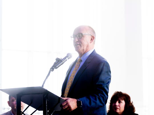 McGhee Tyson Airport Chairman Eddie Manis speaks during an announcement ceremony by Allegiant Airlines at McGhee Tyson Airport in Alcoa, Tennessee on Wednesday, June 20, 2018. Allegiant announced that it would be adding two aircraft and a maintenance facility at McGhee Tyson; a $50 million investment that will create 66 jobs.