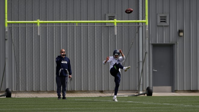 Seahawks punter Michael Dickson kicks during rookie minicamp Friday in Renton.