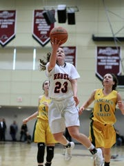 Michelle Sidor, of Saddle River Day School, goes up for a basket during the second half. The Rebels won, 60-55, to claim the Bergen County Women Coaches Association Championship, in Mahwah, Sunday February 18, 2018.