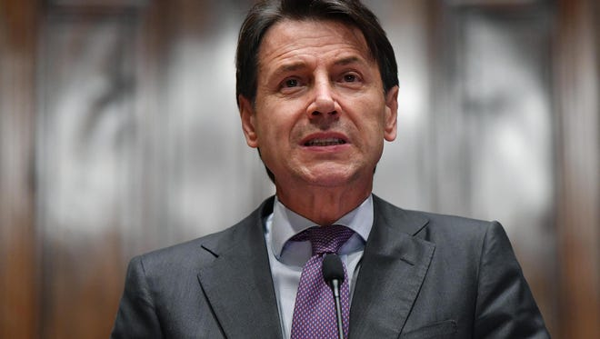 Designated Italian Prime Minister Giuseppe Conte addresses the media in Rome on May 24, 2018.
