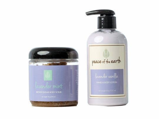 SERIOUSLY SOFTENED SKIN: Handmade lavender mint brown sugar body scrub, $16.99; and lavender vanilla hand and body lotion, $11.99, at Peace of the Earth, 801 E. Market St., (502) 690-5707.