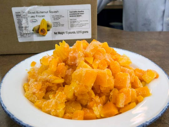 Diced butternut squash is one of the central ingredients being used by Custom Food Solutions to help meet the nutritional requirements of providing food to the Jefferson County Public Schools. 8/24/15