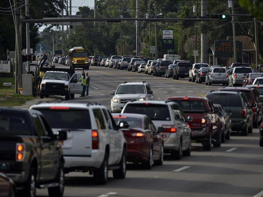 Traffic along Navy Boulevard heading toward Pensacola