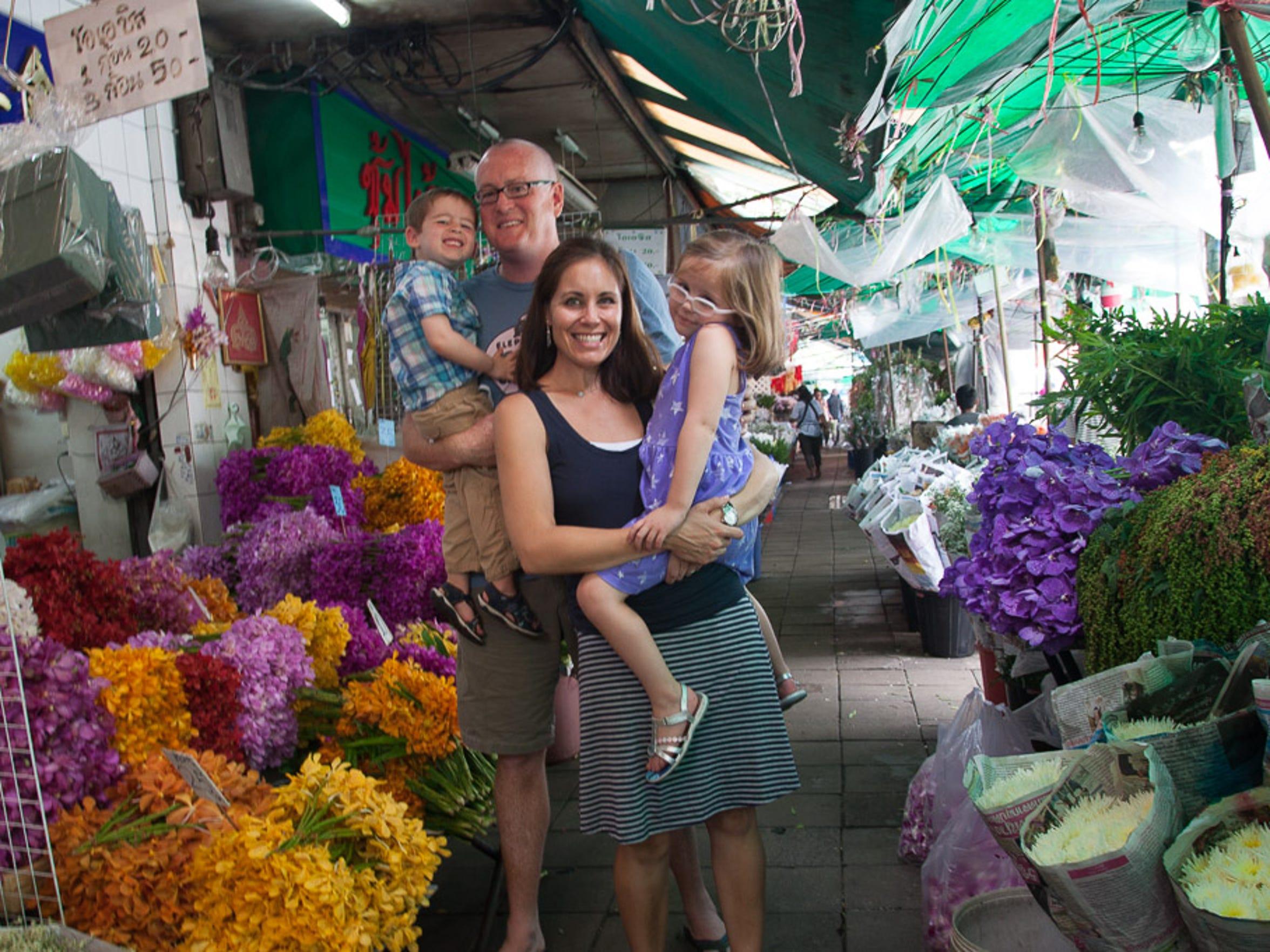 The Hughey family pauses for a photo at Bangkok's ICP
