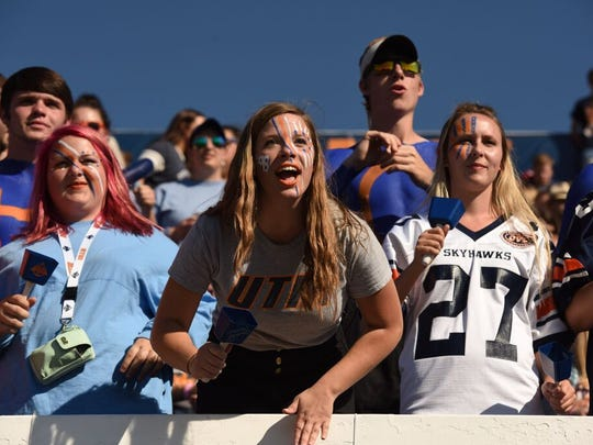 UT Martin students cheer on the Skyhawks on Saturday. The crowd at Hardy Graham Stadium was announced at 7,123.