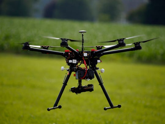 A hexacopter drone is flown during a demonstration