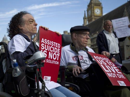 Protesters in London in September 2015.