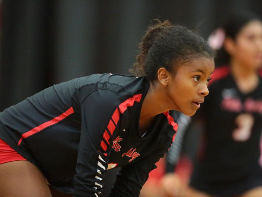 Palm Springs volleyball player Marisela Wright during play with Coachella Valley High. Her two sisters are also on the Palm Springs team.