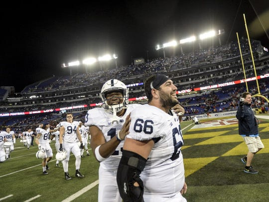 Senior Angelo Mangrio (66) is about the best Penn State had on its subpar offensive line this year.