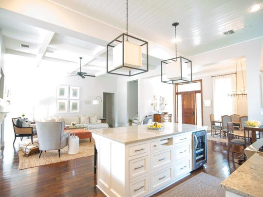 The gorgeous kitchen offers loads of natural light.