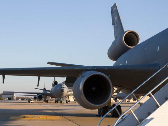 KC-10 refueling planes lined up on the tarmac at Joint Base McGuire-Dix-Lakehurst in 2015.