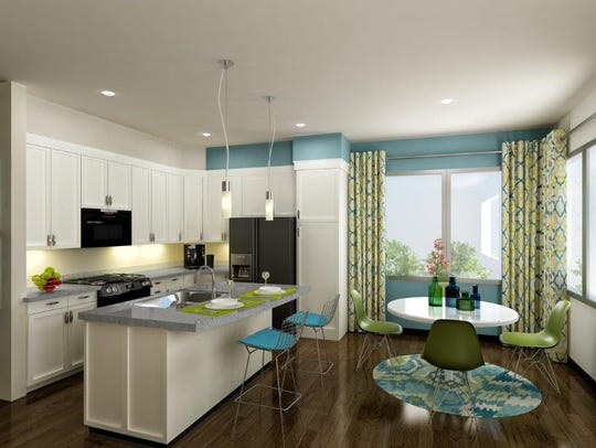 A rendering of the interior of a 62W apartment unit