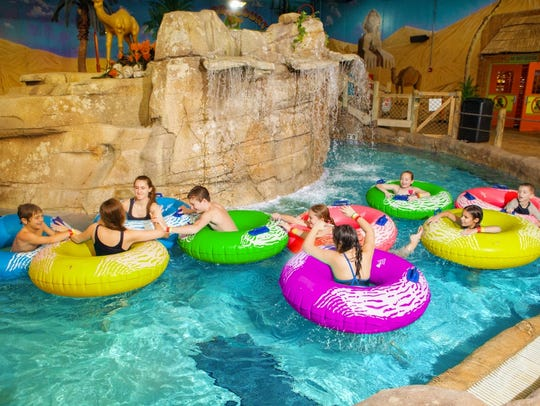 Chat with friends on the lazy river at Sahara Sam's.