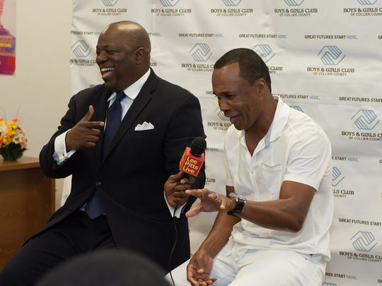 "Lee Pitts interviewing boxer Sugar Ray Leonard for ""Lee Pitts Live."""