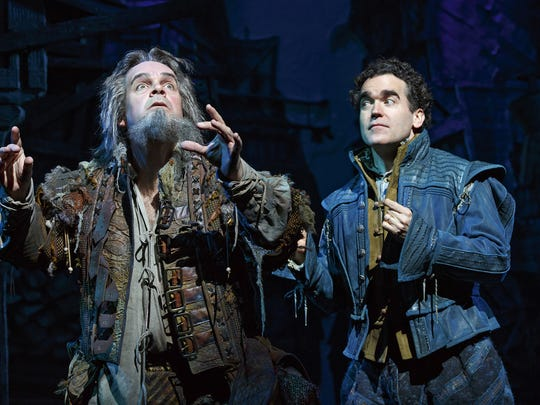 "Brad Oscar and Brian d'Arcy James perform in a scene from ""Something Rotten"""