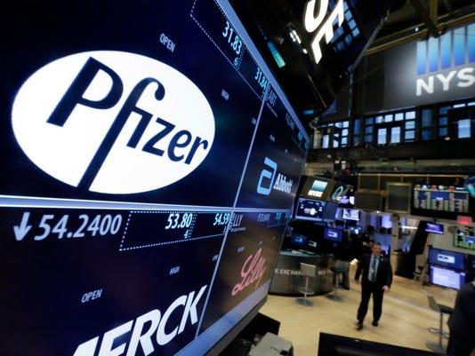 AP FINANCIAL MARKETS WALL STREET ALLERGAN PFIZER F USA NY