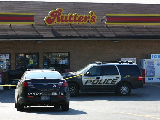 Police respond to an incident at Rutter's.