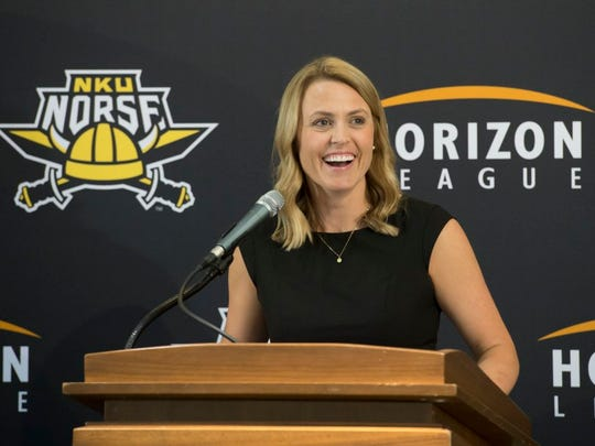 Camryn Whitaker on Tuesday was introduced as Northern Kentucky University's fifth women's head basketball coach.