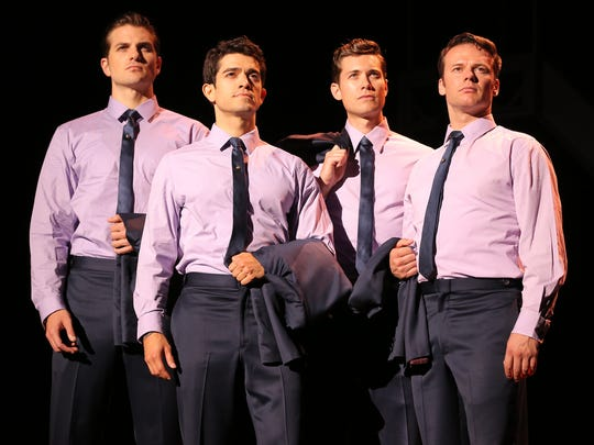 Playing Frankie Valli and the Four Seasons are, from left,  Drew Seeley, Nicolas Dromard, Hayden Milanes and Keith Hines.