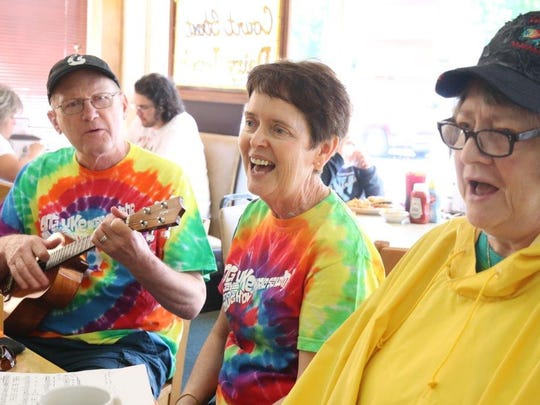 From left, Ron Relaford, Janet Romine and Becky Leonard