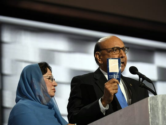 Jack Gruber, USA TODAY Khizr Khan, father of fallen U.S. soldier Humayun S.M. Khan, offers a copy of the Constitution to Donald Trump as he speaks during the 2016 Democratic National Convention. Khizr Khan, father of fallen U.S. soldier Humayun S.M. Khan, offers a copy of the Constitution to Donald Trump as he speaks during the 2016 Democratic National Convention at Wells Fargo Center in Philadelphia, Pa.