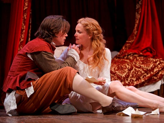 """Luke Humphrey and Shannon Taylor perform in Stratford Festival's """"Shakespeare in Love."""""""