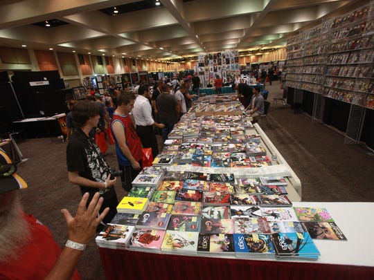 Fans of comics and super heroes await the opening  of Comic Con Palm Springs on August 26, 2016 at the Palm Springs Convention Center on the opening.