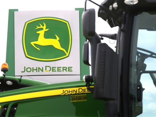 John Deere farming equipment at a dealership in Petersburg,