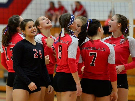 Pacelli volleyball players celebrate after winning a set in their 25-14, 25-15, 25-17 win over Weyauwega-Fremont on Thursday night.