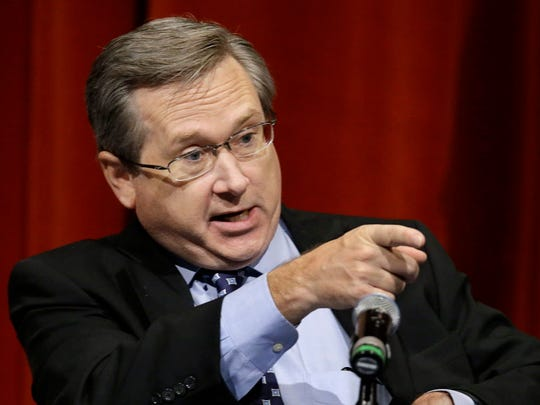 Republican U.S. Sen. Mark Kirk, answers questions during