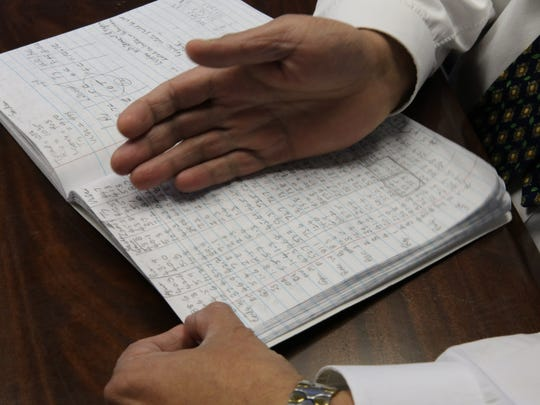 Mayur compiles his data daily by hand in college composition notebooks.