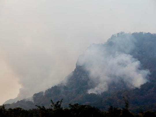 Smoke billows from the Party Rock fire Nov. 12 near Lake Lure.