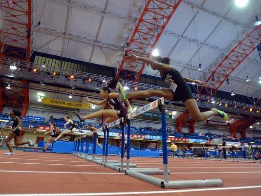 Indoor track stock photo