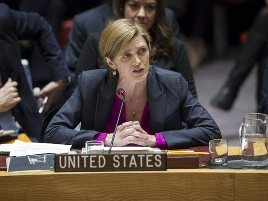 In this photo provided by the United Nations, Samantha Power, U.S. Ambassador to the United Nations, addresses the United Nations Security Council, after the council voted on condemning Israel's settlements in the West Bank and east Jerusalem, Friday, Dec. 23, 2016 at United Nations Headquarters. In a striking rupture with past practice, the United States allowed the U.N. Security Council on Friday to condemn Israel.