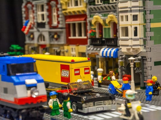 It's a busy day in this LEGO city scene. See more at this weekend's BrickUniverse convention for LEGO fans.