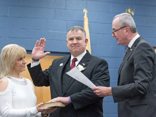 Joseph Dombrowski being sworn in to his second term during the Elmwood Park reorganization meeting on Jan. 5, 2017.