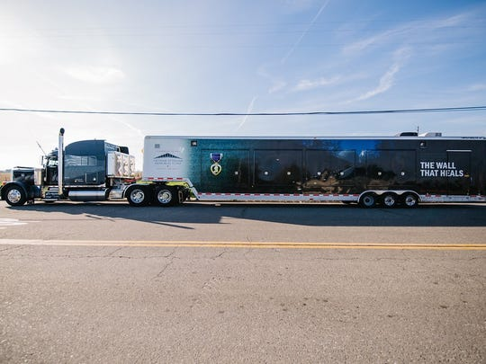 The trailer containing the exhibit and replica Wall on the road, hauled across the country by volunteer truckers.
