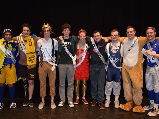 Big Man on Campus 2016 contestants showing off their school spirit. Left to Right: Mr. Castle - Sahib Sooch (Crowd Favorite), Mr. Central - Andrew Eberhard (Mr. Congeniality), Mr. Signature - Andrew Beaver (Big Man On Campus), Mr. North - J Corban Crow, Mr. Mater Dei - Brennen Yancey (first dunner-up), Mr. Tecumseh - Skyler Feldmeier, Mr. Reitz - Andrew Shaw, Mr. Mount Vernon - Matt Evinger, Mr. Memorial - Will Durchholz