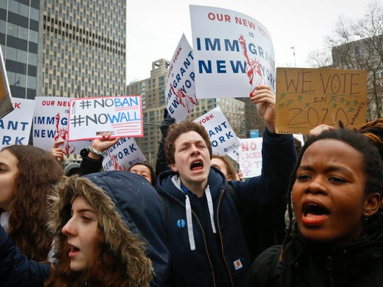 Students in New York City at a rally Tuesday against