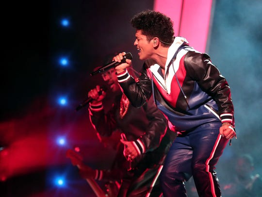 Singer Bruno Mars during The 59th GRAMMY Awards at