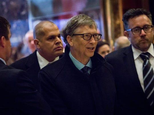 Bill Gates at Trump Tower in December; the philanthropist