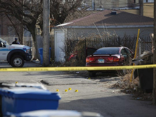 Chicago Police crime scene tape and evidence markers