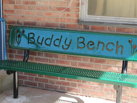 A Buddy Bench recently installed at a Fair Lawn school.