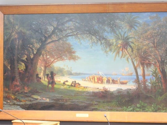 """The Landing of Columbus"" painting by Albert Bierstadt."