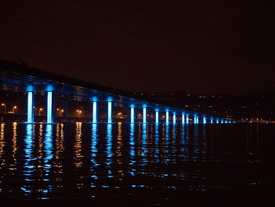 Light testing on the new Tappan Zee Bridge on Thursday,