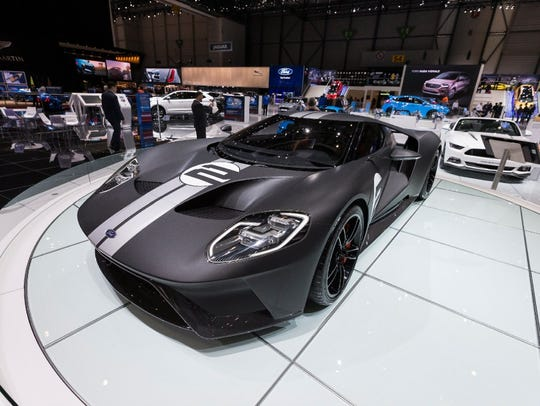 The Ford GT 66 at the motor show in Geneva.
