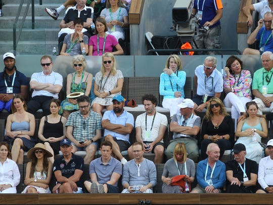 "The ""Champions' Box"" watches Rafael Nadal of Spain, during his match against Roger Federer of Switzerland for their fourth round match on Stadium 1 during the 2017 BNP Paribas Open at Indian Wells Tennis Garden. Federer won the match in two sets."