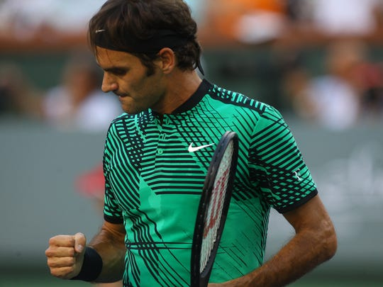 Roger Federer, of Switzerland during his match against Rafael Nadal, of Spain for their fourth round match on Stadium 1 during the 2017 BNP Paribas Open at Indian Wells Tennis Garden. Federer won the match in two sets.